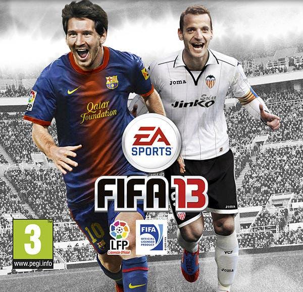 Roberto Soldado y Lionel Messi, portada de FIFA13