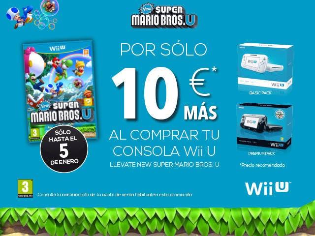 Llévate la Wii U con 'New Super Mario Bros. U' por 10 euros más