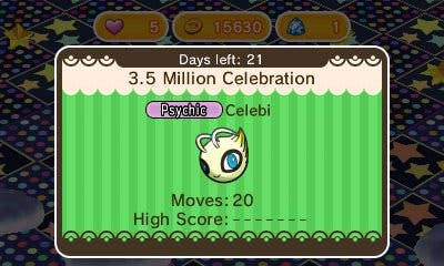 Un nuevo evento de Celebi en 'Pokémon Shuffle' celebra los 3.5 millones de descargas