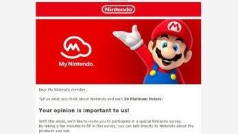 Algunos miembros de My Nintendo están recibiendo una encuesta en la que se les premia con 30 Puntos de platino