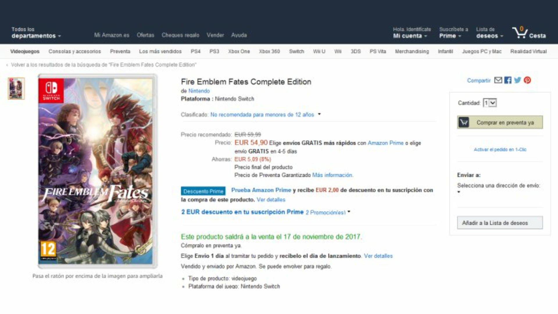 [Act.] Amazon España lista Fire Emblem Fates Complete Edition para Nintendo Switch, aunque el boxart es un fan-art