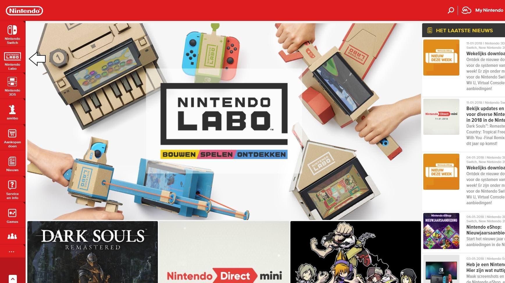 El sitio web europeo de Nintendo reemplaza la sección de Wii U de su menú por una de Nintendo Labo