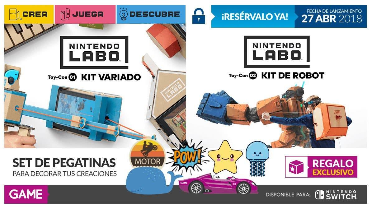 Llévate este set de pegatinas con la compra de Nintendo Labo en GAME España