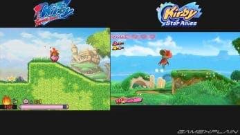 Comparación gráfica de los niveles retro del DLC de Kirby Star Allies