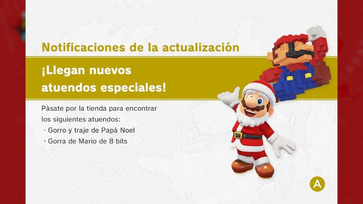Super Mario Odyssey recibe atuendos de Papá Noel y Mario de 8 bits