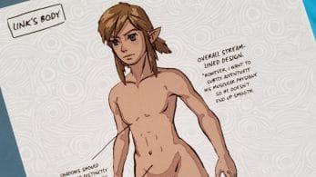 Conocemos las anotaciones del boceto de Link desnudo en Zelda: Breath of the Wild