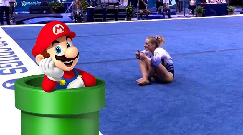 Una gimnasta presenta una genial rutina de suelo inspirada en la saga de Super Mario