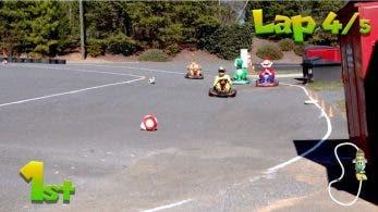 Kyle Busch, piloto profesional de NASCAR, se anima a participar en una carrera de Mario Kart en la vida real