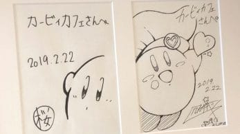 El Kirby Café de Japón cuelga un par de dibujos de Sakurai y Kumazaki