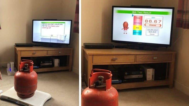 Familia utiliza su tabla de Wii Fit para pesar bombonas de butano