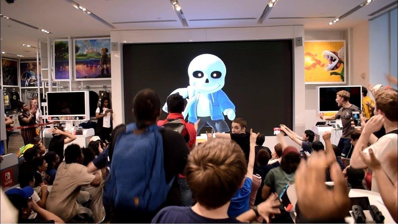 No te pierdas la reacción al anuncio del traje de Sans en Super Smash Bros. Ultimate de los asistentes a Nintendo NY