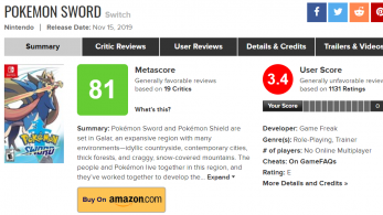 Sí, Pokémon Espada y Escudo ya está sufriendo review bombing en Metacritic