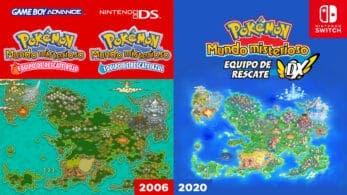 Comparativa del mapa de Pokémon Mundo misterioso: Equipo de rescate DX con la versión original