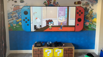 Fan decora su salón con temática de Nintendo Switch y Super Mario 3D World