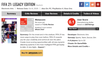FIFA 21: Legacy Edition para Nintendo Switch tiene actualmente una nota media de 0,1 en Metacritic