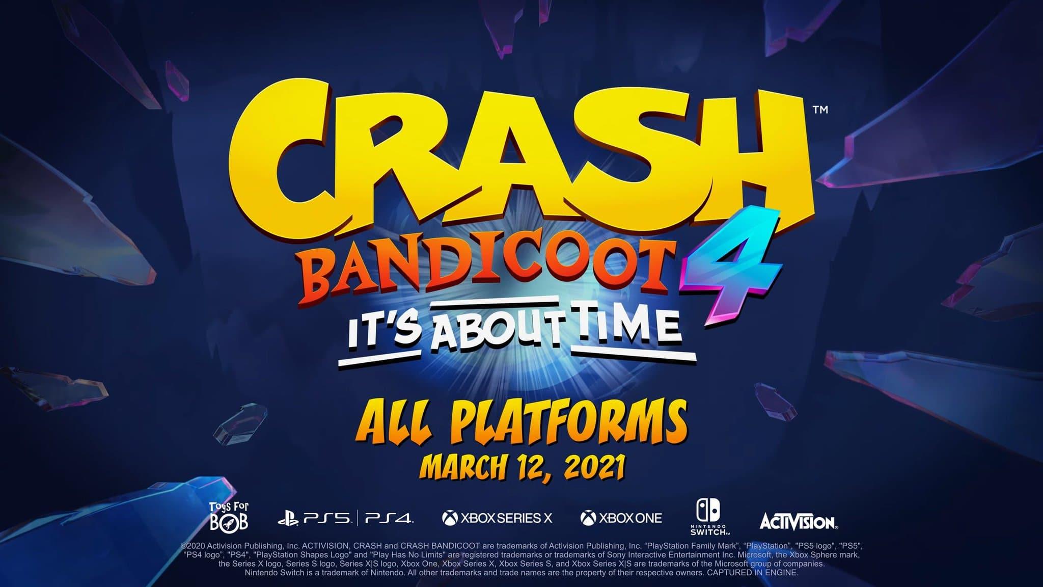 Crash Bandicoot 4: It's About Time queda confirmado para el 12 de marzo en Nintendo Switch con este tráiler