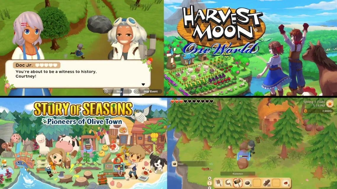 Comparativa en vídeo de los primeros 30 minutos de Story of Seasons: Pioneers of Olive Town y Harvest Moon: Un Mundo Único